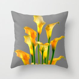 DECORATIVE GOLDEN CALLA LILY FLOWERS ON GREY ART Throw Pillow