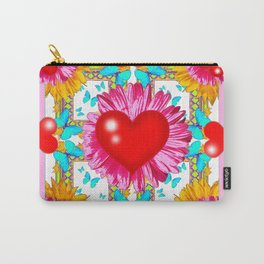 Red Hearts Valentines & Pink Flowers Art Grey Patterns Carry-All Pouch