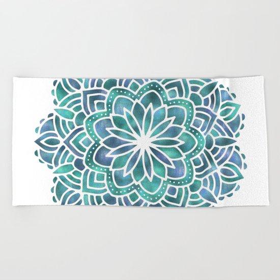 Mandala Succulent Blue Green Beach Towel