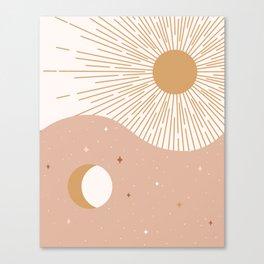 Yin Yang Blush - Sun & Moon Canvas Print