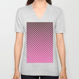 Brown diamonds with pink background geometric pattern Unisex V-Neck