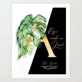 All you need is love. Gold Art Print