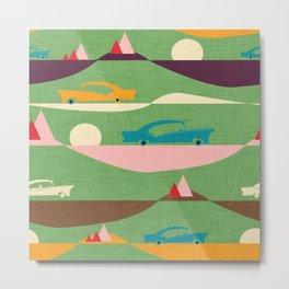 50s Retro Road Trip Green #midcenturymodern Metal Print