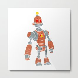 brown robot with lamp head Metal Print