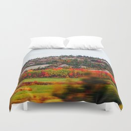 Trees and the Rock Duvet Cover