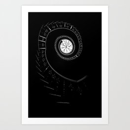 Spiral staircase in blck and white Art Print