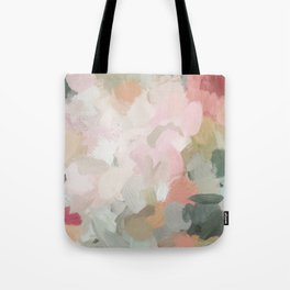 Forest Green Fuchsia Blush Pink Abstract Flower Spring Painting Art Tote Bag