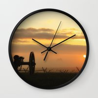 battlefield Wall Clocks featuring Sunrise on a foggy Battlefield by Captive Images Photography