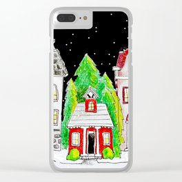 Snowy Village Clear iPhone Case