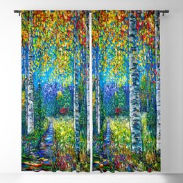 Nocturne Blue with Aspen and Birch Trees Blackout Curtain