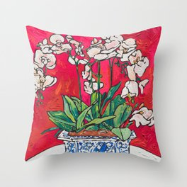Orchid in Blue-and-white Bird Pot on Red after Matisse Throw Pillow