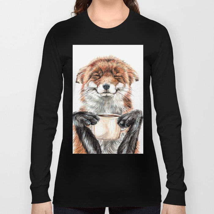 """"""" Morning fox """" Red fox with her morning coffee Long Sleeve T-shirt"""