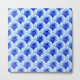 Tea Rose - Blue - Floral Pattern - Petal Elegance Art Deco Metal Print