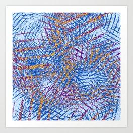 Blue Abstract Stripes Beach Colors Art Print