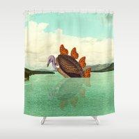 kaiju Shower Curtains featuring Kaiju Vulfly by Pairadactyl