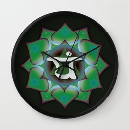 Heart Chakra on black Wall Clock