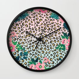 Girly Pink Mint Ombre Floral Leopard Print Glitter Image Wall Clock