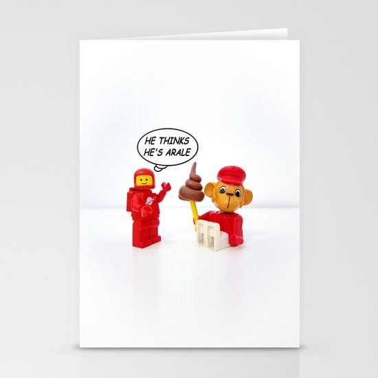 """space lego meeting the """"arale wannabe"""" monkey Stationery Cards"""
