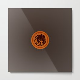 Bucking Bronco Emblem Metal Print