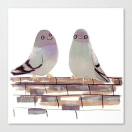 Pigeons in love Canvas Print