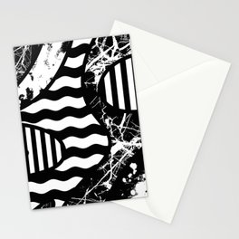 Curvy Contrast - Black and white stripes, waves, marble and paint splats abstract artwork Stationery Cards