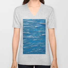Fish shoal of common bellowsfish Unisex V-Neck