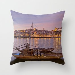 Port Wine barges, Porto at dusk Throw Pillow