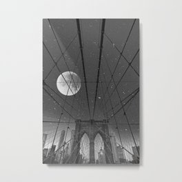 Blood Moon over Brooklyn Bridge and New York City Metal Print