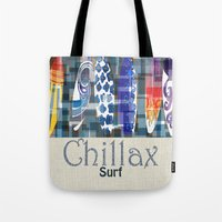 surfboard Tote Bags featuring Chillax Surfboard by Christine Parrish Coastal Designs