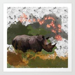 Rhino blossoms Art Print
