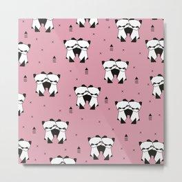 Hugging panda bears sweet geometric illustration print pink Metal Print