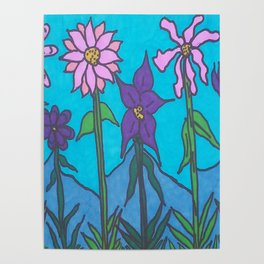 Blue Mountain Flowers Poster