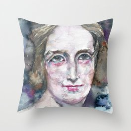 MARY SHELLEY - watercolor portrait Throw Pillow