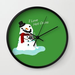Snowman who Loves Hot Cocoa Wall Clock