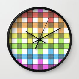 colorful plaid rainbow Wall Clock
