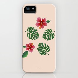 Hibiscus and Monstera iPhone Case