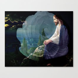 Jesus Christ On Mount Olive With White Rose By Annie Zeno Canvas Print