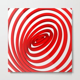 Red Concentric Rings Metal Print