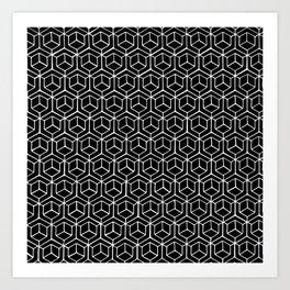 Hand Drawn Hypercube Black Art Print