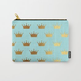 Gold Glitter effect crowns on teal - Royal Pattern for Princesses Carry-All Pouch
