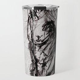 Saint - Charcoal on Newspaper Figure Drawing Travel Mug