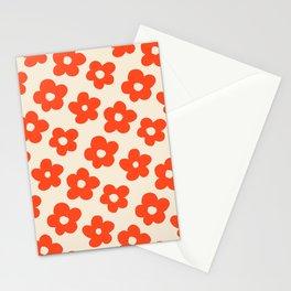 Retro 60s 70s Flower Pattern #pattern #vintage #poppy Stationery Cards