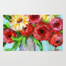 Red Roses and Yellow Daisies Rug