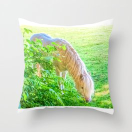 White Pony Throw Pillow