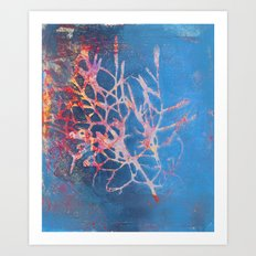 Leaf - Blue Coral Monoprint Art Print