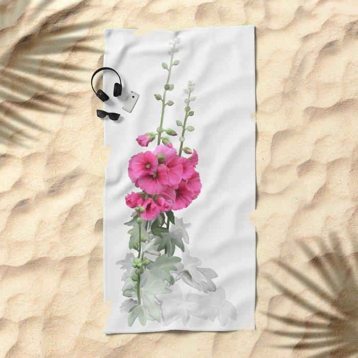 Pink flowers, watercolors Beach Towel