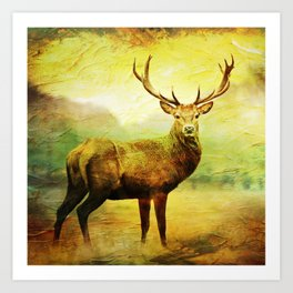 Holiday Deer Art Print
