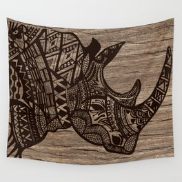 Wood Rhino Black Wall Tapestry