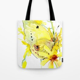 Yellow Butterfly and Yellow Flowers Tote Bag