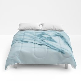 Streaked Teal Blue White Marble Comforters